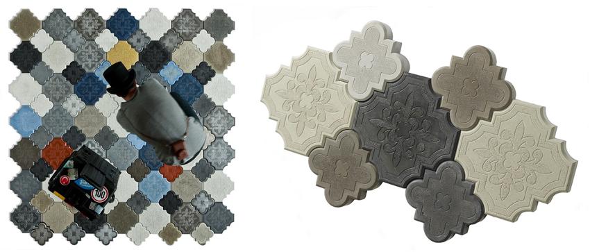 复古彩绘拼图磁砖