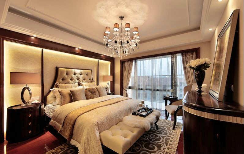 乡村风格卧室白色石膏板周边吊顶装修效果图 中户型卧室双层线条石膏板周边吊顶设计图片欣赏