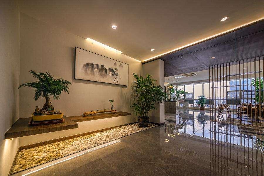 新中式办公室装潢效果图