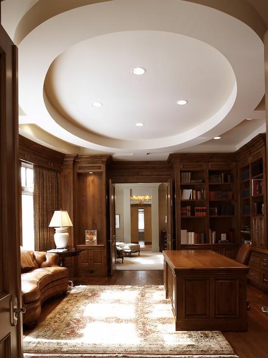 豪华复古美式大书房圆形吊顶欣赏